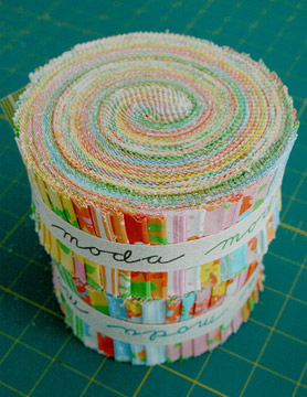 A jelly roll of fabric