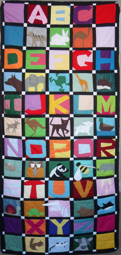 Liz's Animal alphabet baby quilt
