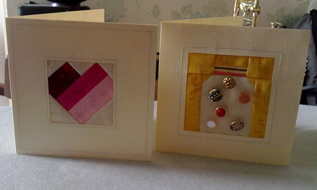 Foundation pieced wedding and birthday cards