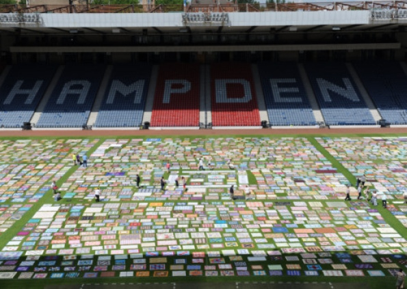 Quilt At Hampden Park by Robert Perry the Scotsman
